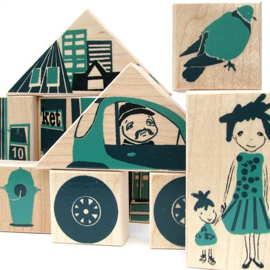 city wood blocks and puzzle -stackable toy -art. $28.00, via Etsy.