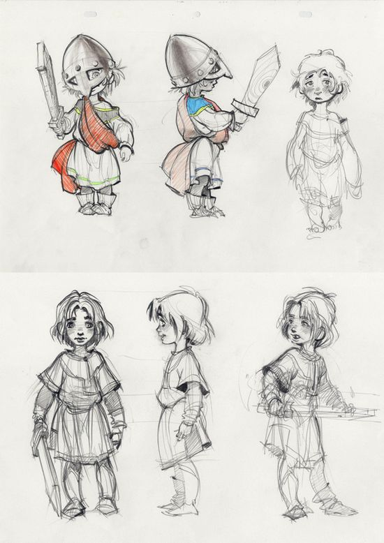 Little warrior character sketch of boy by Andrei Riabovitchev