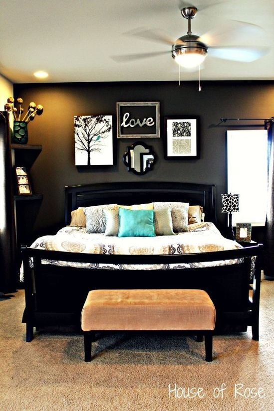 Love the black wall - make it an accent wall? Hardwood floors with rugs for master bedroom.. This is what my bedroom will look like when we move! But with light grey walls and a mint wall. #Home