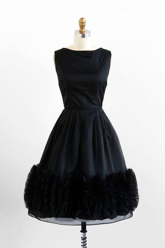 vintage 1950s black organza Audrey Hepburn dress