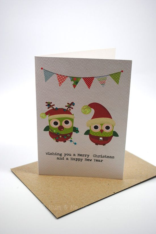 Merry Christmas Card - 2 Christmas Owls and Buntings - XMS026 - Handmade Gift Ideas for Christmas from Handmade HQ