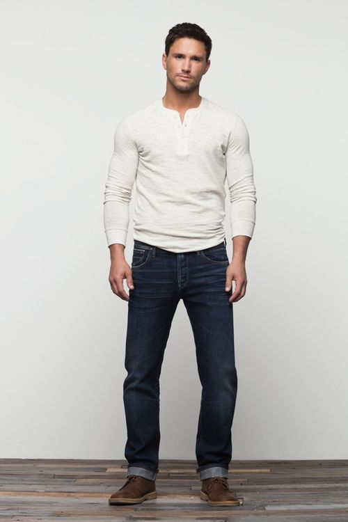 White henley, dark jeans, brown shoes