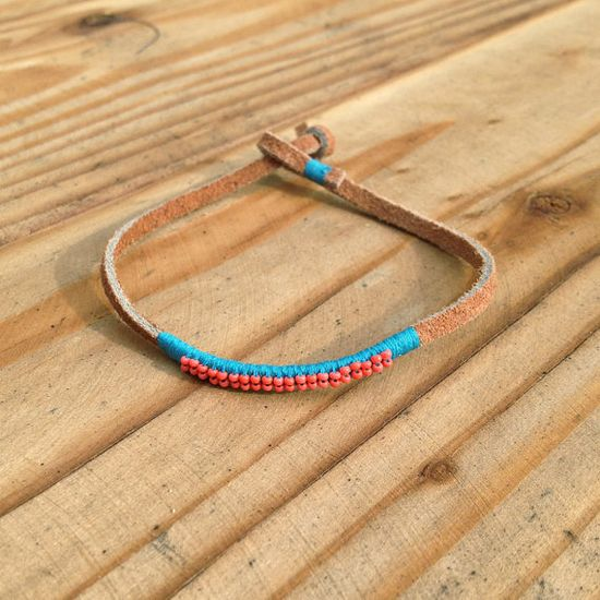 Turquoise+and+Coral+Leather+Bracelet+by+SeeRealFlowers+on+Etsy,+$57.00