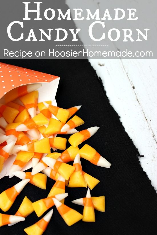 Homemade Candy Corn Recipe : Making your own takes simple ingredients, is easy and taste a LOT better than store bought :: Recipe and Tutorial on HoosierHomemade.com #CandyCorn #Halloween