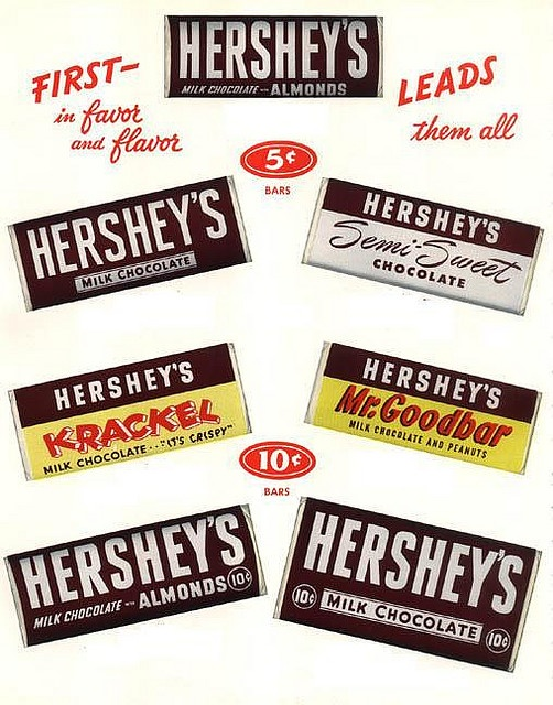 A great 1950s ad for Hershey's chocolate bars that shows a selection of the products the brand was most famous for at the time. #chocolate #bars #candy #1950s #fifties #Halloween #food #50s #ad