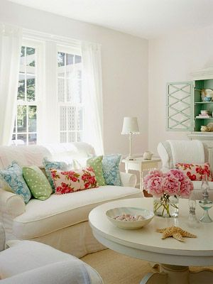 Love the greens, blues, and pinks against all the white
