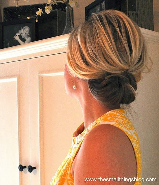 Cute & easy updo. I can barely even braid my hair, much less fix it into a cute updo, but this was so easy and turned out so cute and was perfect an outdoor summer wedding! - must try!