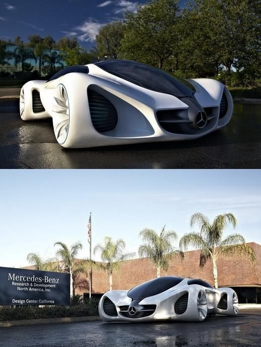 The New Eco-Friendly Mercedes BIOME sports car. Apparently, this design enjoys a combination of inspiration from nature and the materials are all organic. The exhaust breathes oxygen and if the body was thrown for scrap then it could be recycled into building materials or even compost... The car only ways in at 454kg.