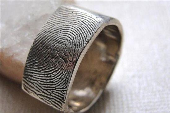 Fingerprint Ring Wedding Band in Sterling Silver by rockmyworldinc, $249.99 - on Etsy