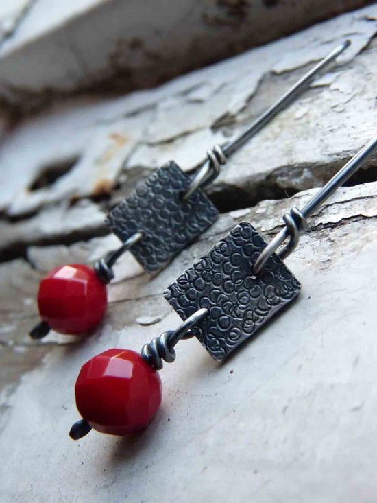 Blueberries+earrings+++Exquisite+red+earrings++by+aforfebre,+$30.00
