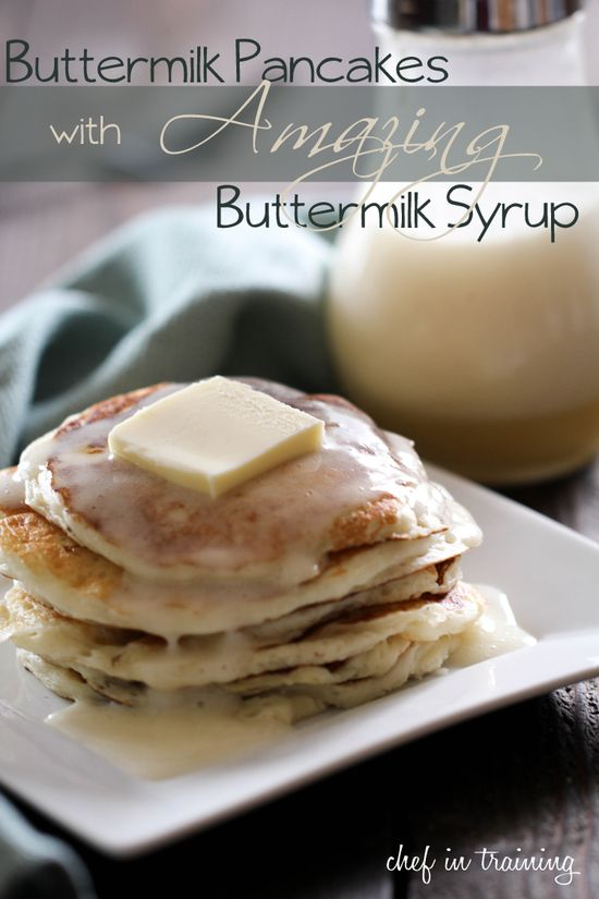 Buttermilk Pancakes with AMAZING Buttermilk Syrup from chef-in-training.com ...Honestly the best pancakes and syrup I have ever had. EVERYONE who has tried these RAVES about them! #breakfast #recipe