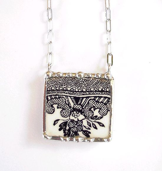 Broken China Jewelry necklace black and white Victorian transferware china
