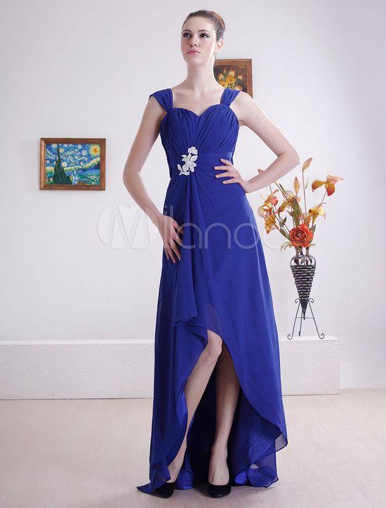 A-line Sweep Royal Blue Chiffon Pleated Beading Celebrity Dress