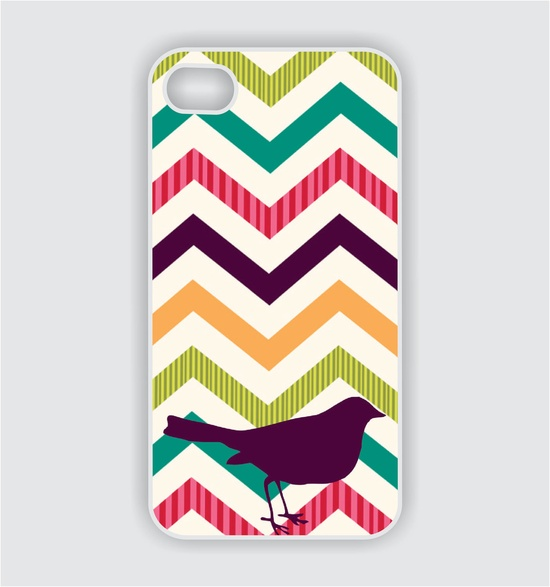 iPhone 4 Case - Chevron Pattern III with Bird - iPhone Case, iPhone 4s Case, Cases for iPhone 4, Hard iPhone 4 Case, iPhone 4 Cover. $16.99, via Etsy.