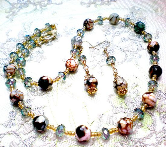 Crackle Agate Czech Crystal Beaded Necklace and by LynnetteJewelry, $50.00