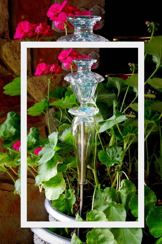 This would be easy enough to make, but never thought to place one in a potted plant. Garden TOTEM sculpture  outdoor garden YARD ART by GlassBlooms, $20.00