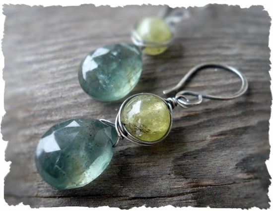 Mossy Meadow Earrings. Handmade. Moss Aquamarine. Green Garnet. Oxidized sterling silver
