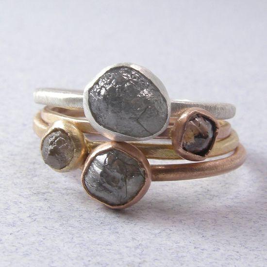 Rough Diamond Stacking Rings