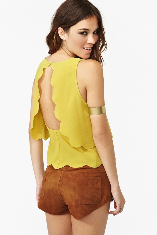 Scalloped Cutout Tank in Chartreuse