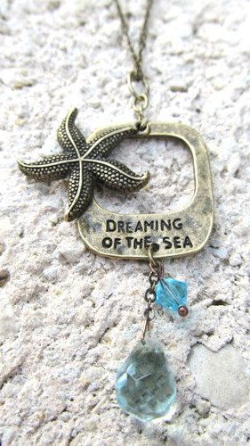 Starfish Necklace Beach Jewelry Dreaming Of The by WuzzysCreations, $20.00