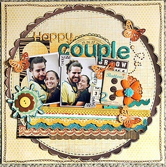 """""""Happy Couple"""" scrapbook page layout"""