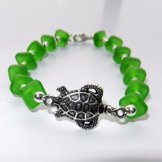 Turtle Charm Bracelet with Green Sea Glass by CloudNineDesignz, $18.00