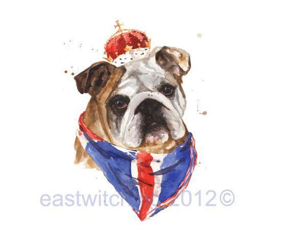 Art- English Bulldog print- so royal!!