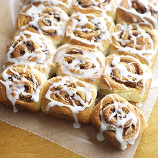 Flavorful cinnamon rolls with orange zest, chocolate, raisins, and nuts stirred into a cinnamon filling. More crowd-pleasing cinnamon rolls: www.bhg.com/...