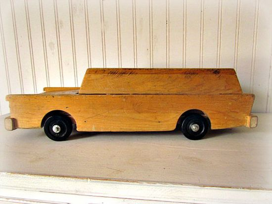Vintage Wooden Car Large Cruiser Perfect for Display in the Boys Room or as Vintage Toy
