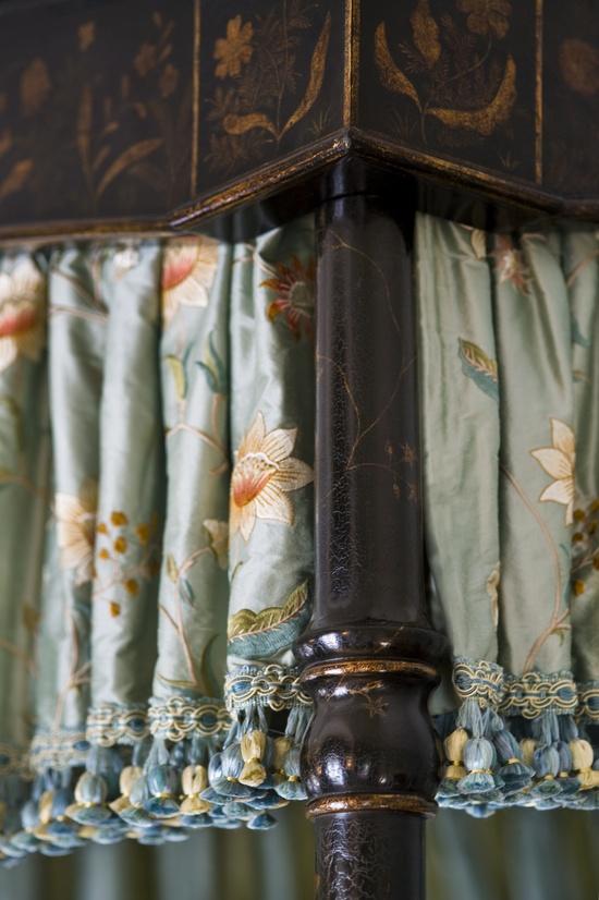 Bed Valance - Chinoiserie, Embroidered Silk & Tassel Trim ???  www.lindafloyd.com