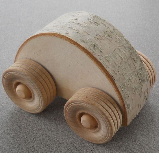 Wooden Car Natural Waldorf Toy Small Birchmobile.
