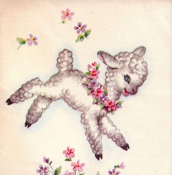 vintage 50s easter lamb notelet from poshtottydesignz