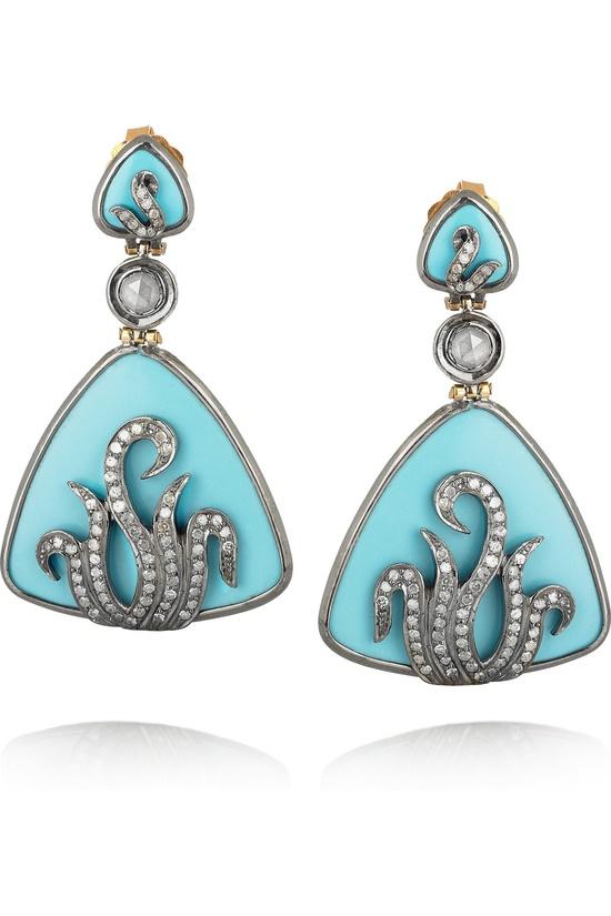 Artisan 18-karat, diamond and enamel drop earrings