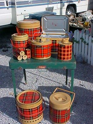 vintage picnic baskets and jugs my favs! scotch coolers and such!