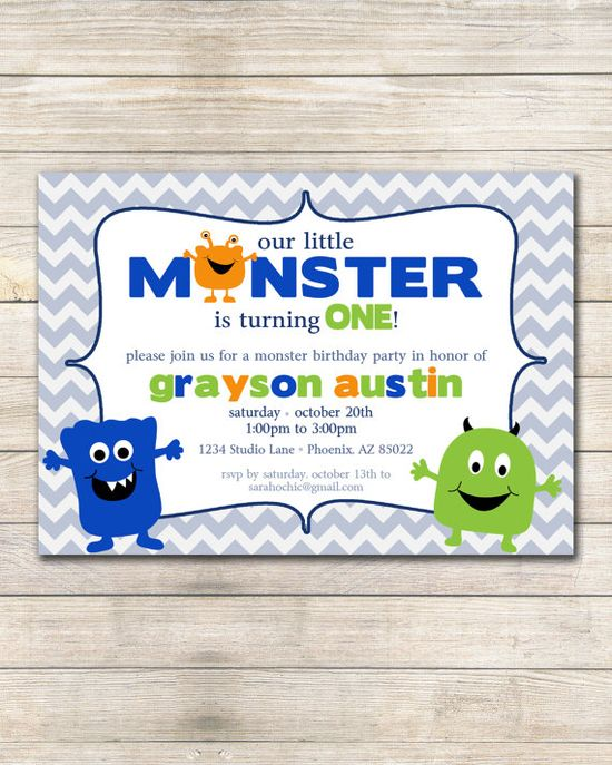 Little Monster Birthday Party Invitation  sarah O by sarahOchic, $12.00