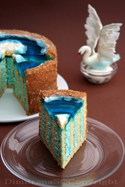 Terrifically lovely, creative, amazing Swan-topped Layered Torte Cake. #swan #decorated #cake #food #baking #dessert #blue #wedding #party #birthday #birds #beautiful