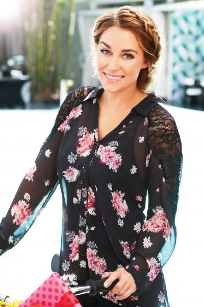 sheer floral print top with lace shoulders for the holidays {Lauren Conrad collection}