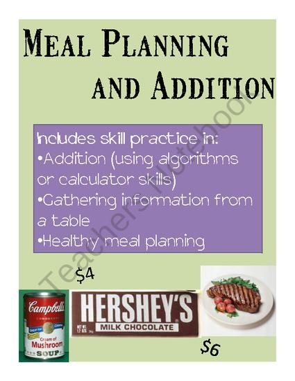 Math Practice through Meal Planning - A Life Skills Activity from Special Education Meets General Education on TeachersN (6 pages)  - This is the perfect activity for middle school or high school students with moderate disabilities who need remediation and practice in basic arithmetic, but who are working through the transition process and need to start practicing life