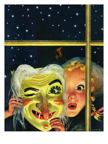 """Witch's Mask,"" by Charles Kaiser - so tremendously cute. #vintage #Halloween #1940s #art #witch"