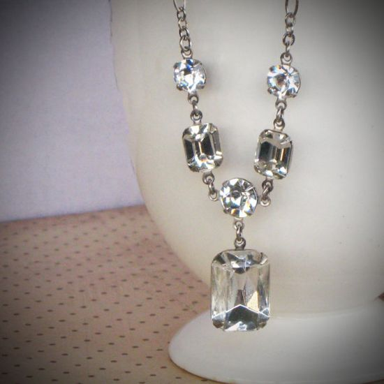 Rhinestone Bridal Necklace Wedding Jewelry Crystal by RewElliott