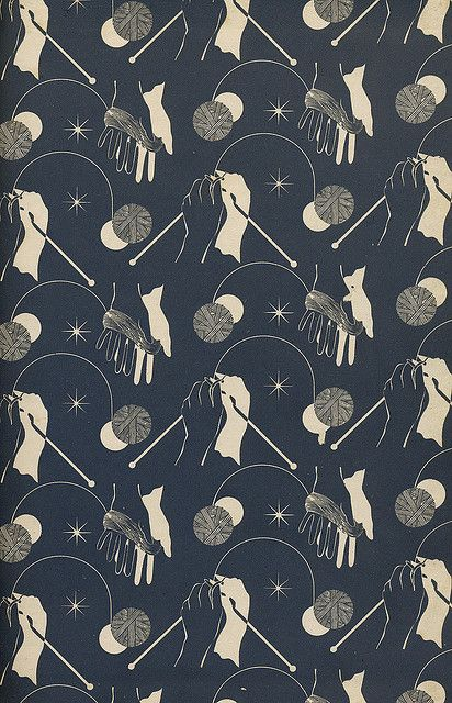 endpapers from a vintage knitting book