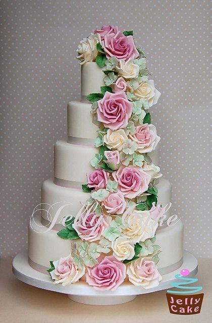 Rose and Hydrangea Cascade Wedding Cake
