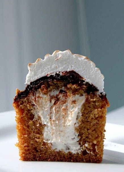 Smore Graham Cracker Cupcakes.