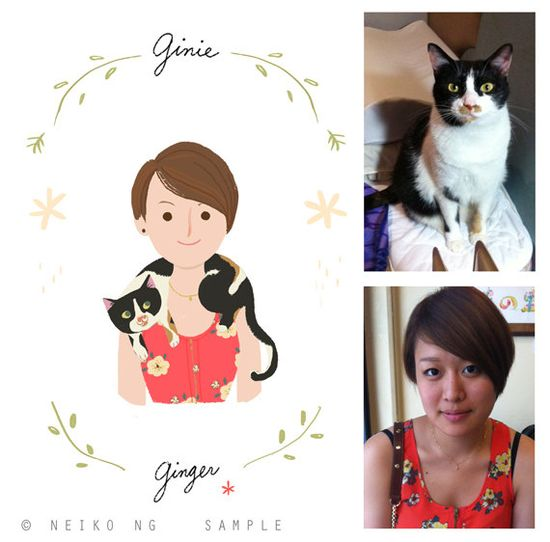 #Custom #Portraits, You and your pet together- #Pet owner and Pet portrait, Print, #Illustration,