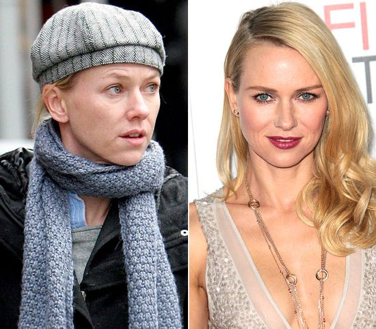 Naomi Watts  On left: running errands in New York City on Dec. 12, 2007  On right: dazzling at the J. Edgar premiere in L.A. on Nov. 3, 2011
