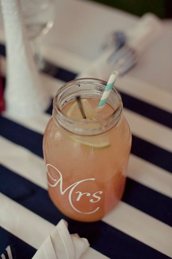 Mr. & Mrs. mason jars - from Etsy!