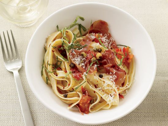 Fettuccine with Tomatoes and Crispy Capers // Healthy Pasta Recipes: www.foodandwine.c... #foodandwine