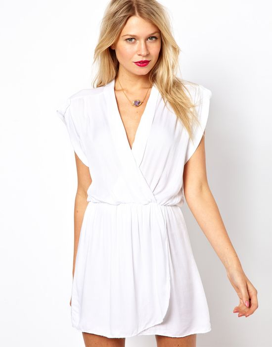 white dress with wrap front