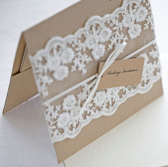 Lace wedding invitations - Rustic wedding invitations - pocketfold invites recycled kraft card