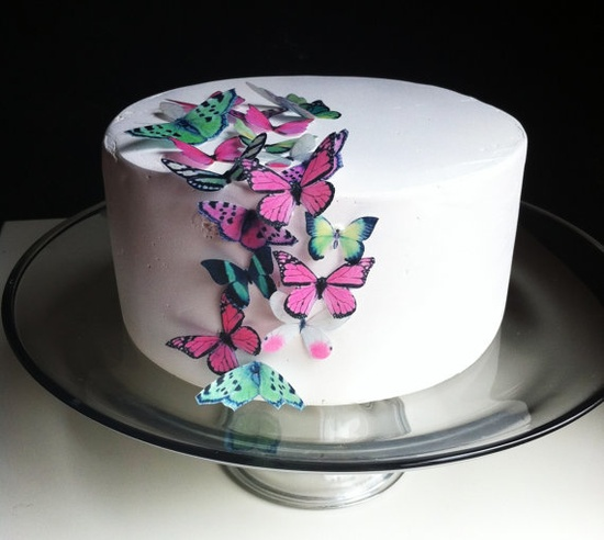 Edible butterflies for cupcakes or cake.